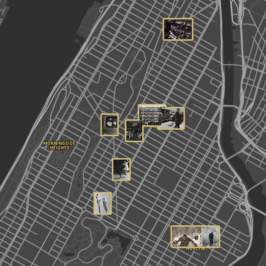 Locations of Photo League photographs, Harlem. ©The Jewish Museum, Google
