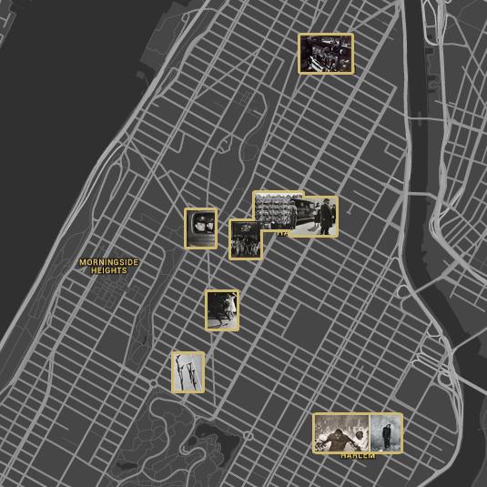 Locations of Photo League photographs, Harlem. ©The Jewish Museum, Google