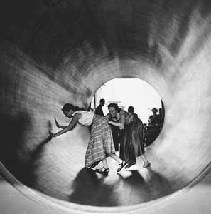 """Turning Barrel, Coney Island, 1952""  ©Arthur Leipzig"